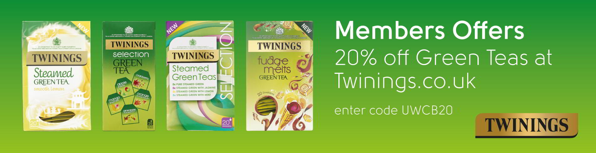 Twinings UWCB members offer. 20% off green teas at twinings.co.uk using code UWCB20